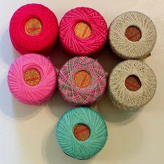 Lot of 7 J&P Coats KNIT-CRO-SHEEN Thread Balls Crochet Pink Green Gold Metallic #Coats