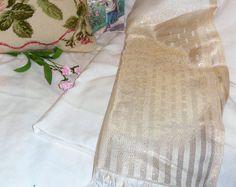 Unused, Calvin Klein Shawl Scarf Ivory Gold Metallic Threading, Wedding, Bride, Prom, Mother's Day, Gift
