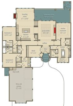 Love most of the floor plan but not a Mediterranean-style fan). Split Bedroom Mediterranean-Style House Plan with Large Rear Porch - floor plan - Main Level Dream House Plans, House Floor Plans, My Dream Home, The Plan, How To Plan, Building Plans, Building A House, Courtyard Entry, House Ideas