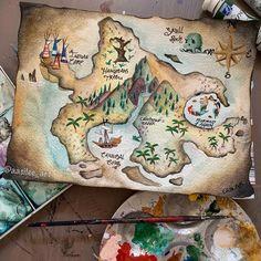 Artist: Elisa Garcia Bonilla (Belgium Artist) Aasilee on Etsy Neverland Tattoo, Neverland Map, Neverland Nursery, Peter Pan Neverland, Map Painting, Watercolor Paintings, Treasure Map Drawing, Ankle Tattoo Small, Tiny Tattoo
