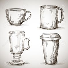 Illustration of set of coffe mugs vector drawing sketch style vector art, clipart and stock vectors. Drawing Cup, Coffee Mug Drawing, Object Drawing, Basic Drawing, Line Drawing, Drawing Ideas, Coffee Painting, Sketch Ideas, Pencil Art Drawings