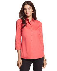 "Chico's Effortless Danise Shirt #chicos  Love this in ""Infinite Aqua""."
