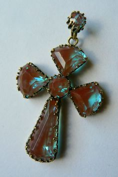 Antique 19th century saphiret cross- large size. Czech. Beautiful example. Rare.
