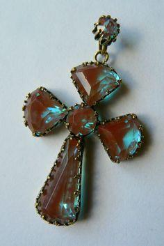 Antique 19th century saphiret cross- large size. Czech. Beautiful example. Rare.