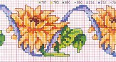 Schema punto croce Fiori Girasole bordo