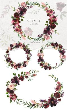 Floral Wreath Watercolor, Pink Watercolor, Wedding Clip, Wedding Cards, Floral Frames, Flower Pattern Drawing, Wreath Drawing, Graduation Diy, Hand Drawn Flowers