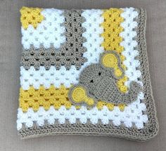 Items similar to Gray and yellow elephant baby blanket Crochet baby blanket Handmade baby blanket on Etsy Elephant Baby Blanket, Crochet Elephant, Elephant Pattern, Quilt Baby, Baby Afghan Crochet, Crochet Blanket Patterns, Knitting Squares, Baby Elefant, Handmade Baby Blankets