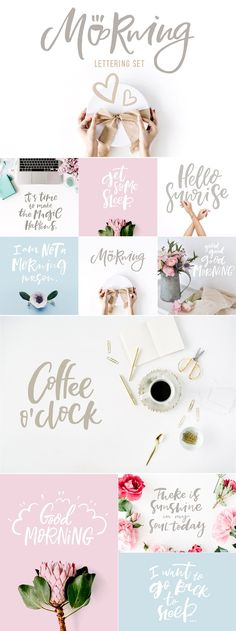 Morning Lettering Set - Illustrations #brushlettering #qoute #motivation #Handlettering #lettering #typography #brushtype #designinspiration #goodletters #handmadefont #moderncalligraphy #calligratype #calligraphy