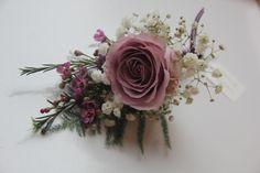 purple wedding, memory lane rose, gypsophelia, wax flower buttonhole