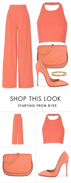"""Coral"" by lina-horan69 ❤ liked on Polyvore featuring Alice + Olivia, Elizabeth and James, MICHAEL Michael Kors, Christian Louboutin and Cartier"