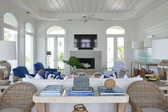"""7. Consider Your Wall Design """"Shiplap is a great solution for a clean, nautical look without getting fussy. We chose a poplar for this application rather than something like a pine that feels more rustic. Contrasting colors, in this case whites paired with sharp blues and oranges, lend themselves to a more modern, sophisticated look."""" —Munger Interiors"""