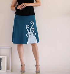 Teal Octopus Skirt (screen printed)