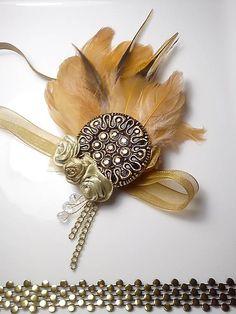 Vintage romantic feather diy headband hair piece on Sashe, romantická ručne robená vintage retro čelenka na Sashe.. Honey Gatsby Night čelenka