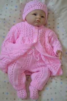 Newborn Matinee Layette 4 Piece Set in Pink or Will Fit a inch Reborn Baby Doll Ready to Ship Baby Hat Knitting Pattern, Baby Hats Knitting, Knitting For Kids, Baby Doll Clothes, Baby Dolls, Baby Coming Home Outfit, Baby Girl Hats, Baby Cardigan, Knitted Dolls