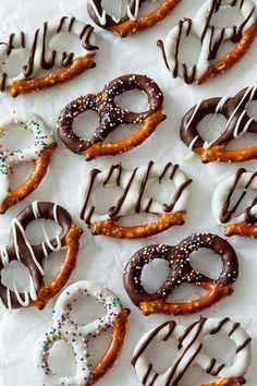 Chocolate Covered Pretzels Recipe  (These chocolate covered pretzels are so simple to make from just chocolate, pretzels, and sprinkles. The salty sweetness is spectacular at cocktail parties.)
