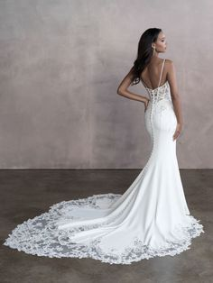 Style: 9815   Allure Bridals Wedding Dress Low Back, Spaghetti Strap Wedding Dress, Wedding Dresses With Straps, Bridal Wedding Dresses, Wedding Dress Styles, Dream Wedding Dresses, Wedding Dresses Tight Fitted, Form Fitting Wedding Dress, Vows Bridal
