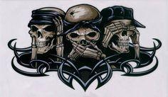 See no evil, Hear no evil, Speak no evil skull tattoo design (7)