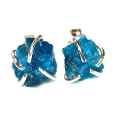 Raw Apatite Stud Earrings Organic Earrings Apatite Jewelry Free Form Earrings Apatite Earrings Apatite Prong Set Earrings Raw Gemstones by FizzCandy on Etsy