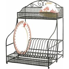Wrought Iron Dish Drainer Rack | Standing Wire Dish Rack - Containers Wrought Iron Home  sc 1 st  Pinterest & Tuscan Wrought Iron Metal 3 Tier Wall Shelf or Wall Planter | Iron ...
