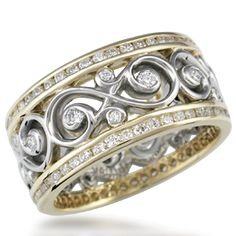 Double Diamond Ornate Infinity Wedding Band - This luxurious band combines two diamond channel rings with our ornate infinity symbol ring. Available in one precious metal or two-tone. 10mm wide. Please inquire for pricing.