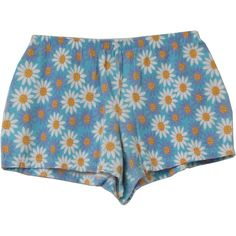 80's Vintage Shorts: 80s -Bia- Womens light blue, violet, white, orange and yellow daisy print polyester and cotton high waist totally 80s booty shorts with back zip closure.