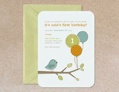 Modern Children's Birthday Party Invitation  Bird by oodlesofcolor, $20.00