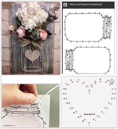 Mason Jar String Art With Flowers, Raffia & A Heart ... using twine, string, yarn or embroidery thread to create a mason jar sign. Drill the holes first, then hammer in the nails for straight, even lines ...................................... #DIY #masonjar #mason #jar #stringart #sign #template #flowers #raffia #nails #string #twine #yarn #embroiderythread #decor #crafts