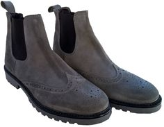 gray Suede Chelsea Boots on rubber sole, made in italy, overview