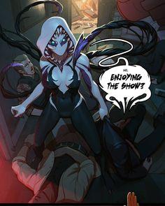 Gwenom - Full blast #gwenom art by tarakanovich . #venom ... SPIDER-Gwen ... °°