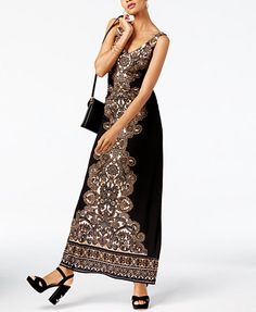 INC International Concepts Petite Printed Ruched Maxi Dress, Created for Macy's | macys.com