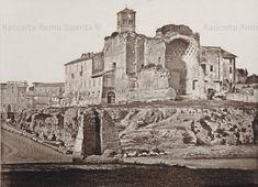Foto storiche di Roma - Tempio di Venere e Roma sullo sfondo e in primo piano la Meta Sudans Anno: 1850 ca
