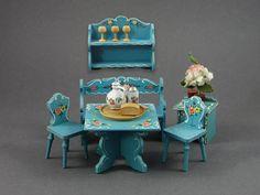 Vintage German Bavarian Kitchen Dollhouse Furniture Wooden