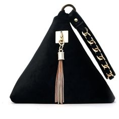 Triangle Black Velvet Fabric Gold Chain Tassel Wrist Clutch Bag (211.365 IDR) ❤ liked on Polyvore featuring bags, handbags, clutches, trend, gold wristlet, evening handbags, tassel clutches, chain purse and velvet purse