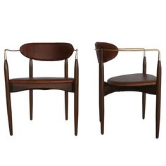 Leather and Brass Chairs designed by Dan Johnson and manufactured by Selig | From a unique collection of antique and modern chairs at http://www.1stdibs.com/furniture/seating/chairs/