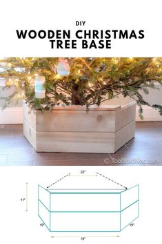 DIY Wooden Christmas Tree Base - This farmhouse style tree stand is the perfect way to add style to your holiday decor this year. You'll be able to hide the unsightly part of your Christmas tree, while adding to the aesthetics of your home. Farmhouse Christmas Decor, Rustic Christmas, White Christmas, Christmas Holidays, Scandinavian Christmas, Christmas Bells, Christmas Countdown, Outdoor Christmas, Christmas Angels