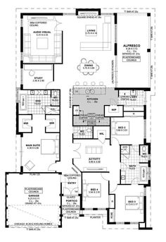 Today I have this family home with a study to show you. The plan is a great size and would suit a normal residential block. The 3 kids bedrooms are to the front of the home with the master being behind the garage. Home Design Floor Plans, Bedroom Floor Plans, Plan Design, Metal Building Homes, Building A House, Building Ideas, Metal Homes, Dream House Plans, House Floor Plans