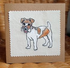 Handmade 'jack russell' card made with free machine embroidery by ClobberCreations on Etsy