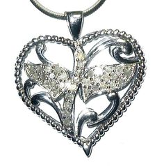 DIAMOND HEART Pendant .50 carats  sterling silver  35 diamonds MOTHER'S DAY #Unbranded #Pendant
