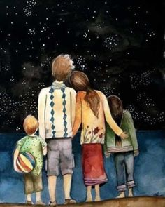 Art Anime Fille, Anime Art Girl, Family Illustration, Cute Illustration, Birthday Greetings For Father, Best Fathers Day Quotes, Claudia Tremblay, Family Painting, Peace Art