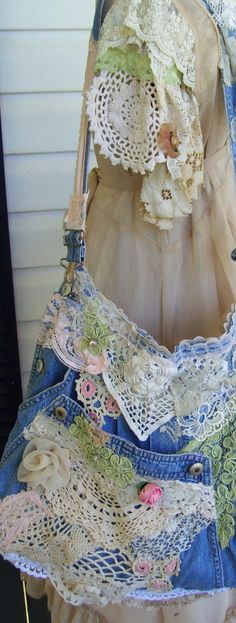 Recycled/Upcycled Soft Denim Shabby Chic Rags Bag, recycled from a vintage denim jean overalls  Bib was attached slightly slanted on the
