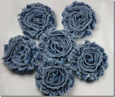 denim flowers - take old jeans and make into these flowers to decorate odds and ends at the barn?