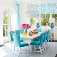 turquoise dining room | 2016 Coastal Living Magazine Hamptons Showhouse