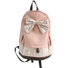 Coofit Generic Girls Vintage Canvas Bow Cute Rucksack Satchel Travel... ($24) ❤ liked on Polyvore featuring bags