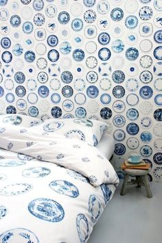 Porcelain Blue wallpaper and duvet cover by Studio Ditte. #greetingsfromnl