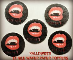 12 HALLOWEEN Vampire Fangs Bite Me Blood PreCut Edible Image Cupcake Cookie Cake Pop Dessert Cake Topper Wafer Paper Birthday Party Supplies