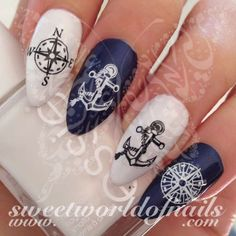 Summer Nail Art Compass Anchor Nail Water Decals Water Slides 20 water decals on a clear water transfer which can be applied over any color varnish on either your natural or false nail. Elegant Nail Designs, Elegant Nails, Nail Art Designs, Anchor Nail Art, Nautical Nail Art, Nail Water Decals, Decoration Stickers, Stamping Nail Art, Luxury Nails