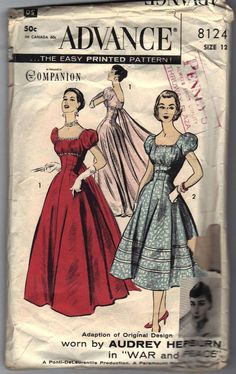 """Advance 8124: I'm not sure if this looks anything like the Audrey Hepburn gown from War and Peace it's """"adapted from"""", but it's great nevertheless."""