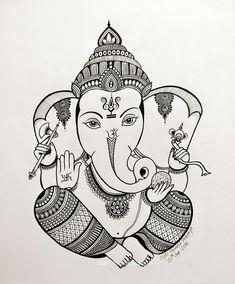 New art drawings abstract pencil Ideas Ganesha Drawing, Ganesha Painting, Ganesha Art, Ganesha Sketch, Art Drawings Sketches Simple, Art Drawings For Kids, Pretty Drawings, Doodle Art Drawing, Mandalas Drawing