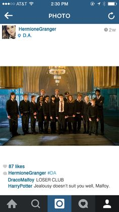 """When she's sharing a photo of her friends:   If Hermione Granger Had Instagram """"Jealousy doesn't suit you well, Malfoy."""""""