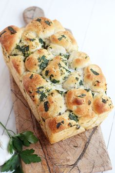 garlic pull-apart bread - great!  (don't bother forming the dough into 1-inch balls - irregularly torn chunks work great)